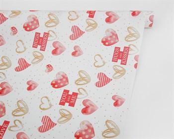 Бумага упаковочная, 50х70 см, With love, сердечки, 1 лист - фото 10034