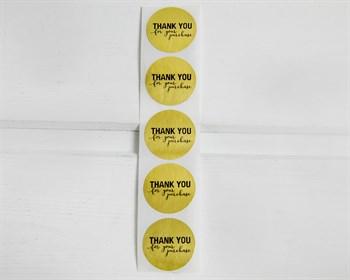 """Наклейки  """"Thank you"""", круглые, d=2,5 см, золото, 5 шт. - фото 10049"""