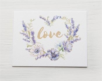 Открытка «Love» на акварельном картоне, 8х6см, 1шт. - фото 10123