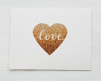 Открытка «Love» золотое сердечко, 8х6см, 1шт. - фото 10126