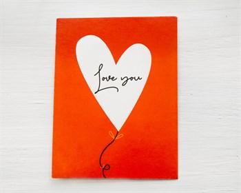 Открытка «Love you» сердечко, 8х6см, 1шт. - фото 10128