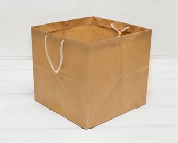 Крафт пакет бумажный, 29х29х27,5 см, с широким дном и ручками, коричневый - фото 10140