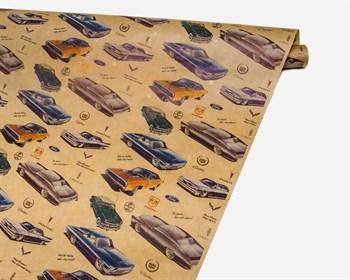 "Бумага упаковочная, 40г/м2, ""Автомобили Ретро"", 72см х 10м, 1 рулон - фото 10147"