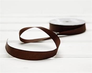 Лента репсовая, 20 мм, коричневая, 1 м - фото 10182