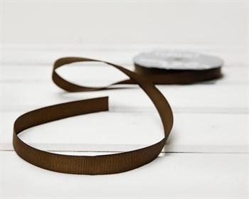 Лента репсовая, 12 мм, коричневая, 27 м - фото 10183