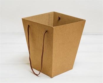 Коробка для цветов малая трапециевидная, низ 12,5 см, верх 18 см, высота 22 см, крафт - фото 10195