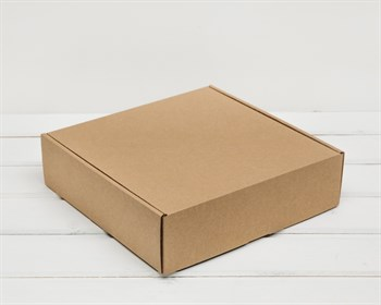 Коробка для посылок, 25х25х7 см, из плотного картона, крафт - фото 10282