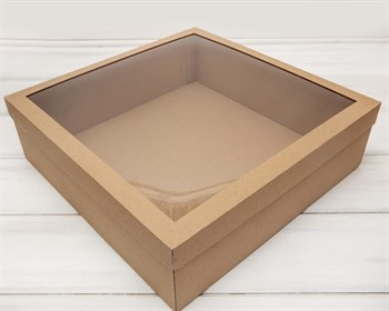 УЦЕНКА Коробка для венка с прозрачным окошком, 48х48х12 см, крафт - фото 10336