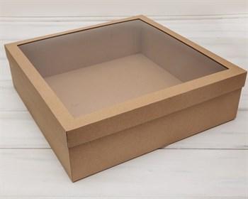 УЦЕНКА Коробка для венка с прозрачным окошком, 40х40х12 см, крафт - фото 10341