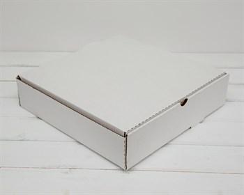 УЦЕНКА Коробка для пирога 33х33х8 см из плотного картона, белая - фото 10350