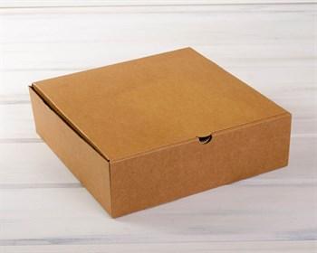 УЦЕНКА Коробка для высокого пирога 28х28х8,5 см из плотного картона, крафт - фото 10358