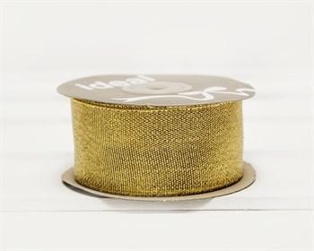 Лента металлизированная, 38 мм, золотая, 22 м - фото 10421