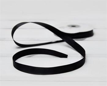 Лента атласная, 12 мм, черная, 1 м - фото 10478