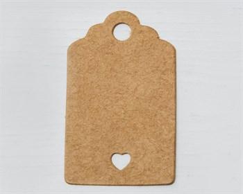 Бирка  из мелованного картона, 3х5 см, с сердечком, крафт - фото 10507