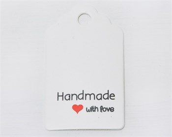 "Бирка  из мелованного картона, ""Handmade with love"", 3х5 см, белая - фото 10509"