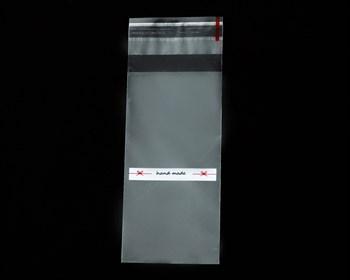 """Пакет с клейкой лентой 5х10 см, прозрачный, с рисунком """"hand made"""", 100 шт. - фото 10629"""