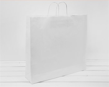 Крафт пакет бумажный, 45х48х12 см, с кручеными ручками, белый - фото 10791