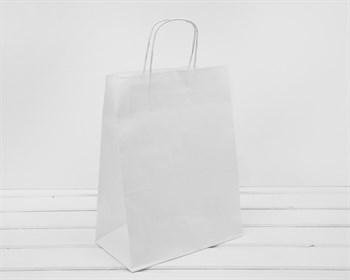 Крафт пакет бумажный, 35х26х14 см, с кручеными ручками, белый - фото 10802