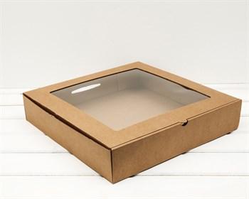 Коробка с окошком, 35х35х7 см, крафт - фото 10805
