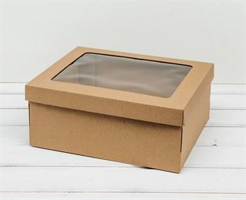 Коробка с окошком 29х24х12 см, крышка-дно, крафт - фото 10893