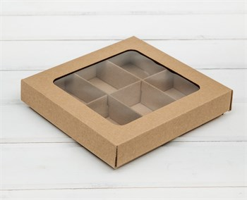 Коробка с окошком 17х17х3,5 см, крышка-дно, крафт - фото 10905