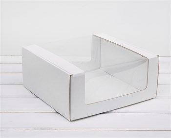 Коробка из плотного картона, 24х24х11 см, с круговым окном, белая - фото 10981