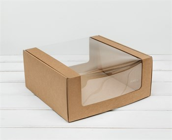 Коробка из плотного картона, 24х24х11 см, с круговым окном, крафт - фото 10984