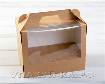 Коробка для 15 кейк-попсов вертикальная, 25х15х20 см, с прозрачным окошком, крафт - фото 4720