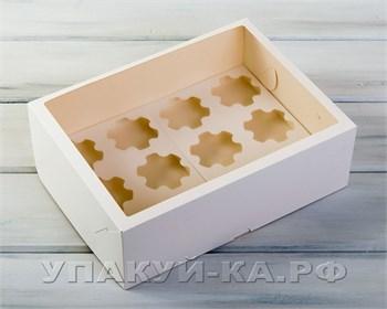 Коробка для капкейков/маффинов на 12 шт, с увеличенным окошком, 33х25х11 см, белая - фото 4735