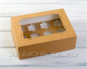 Коробка для капкейков/маффинов на 12 шт, с прозрачным окошком и узором, 33х25х11 см, крафт - фото 4736