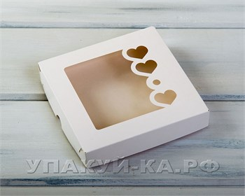 Коробка для пряников и печенья  Сердца,  16х16х3 см, с прозрачным окошком, белая - фото 4748