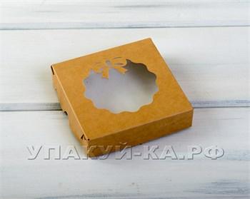 Коробка для пряников и печенья  Бант,  12х12х3 см, с прозрачным окошком, крафт - фото 4781