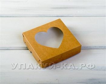 Коробка для пряников и печенья  Сердце, 12х12х3 см, с прозрачным окошком, крафт - фото 4784
