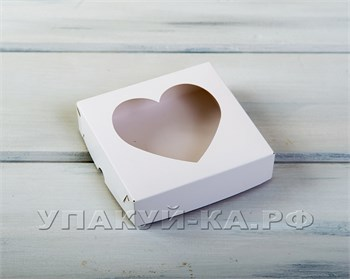 Коробка для пряников и печенья  Сердце, 12х12х3 см, с прозрачным окошком, белая - фото 4787