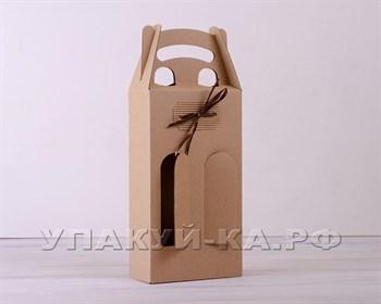 Коробка для двух бутылок с декором, 16х39х7 см, крафт - фото 5107