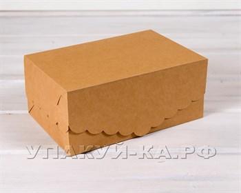 Коробка для капкейков/маффинов на 6 шт, с кружевом, 25х17х11 см, крафт - фото 5290