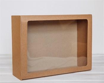 Коробка с прозрачным окошком 40х30х12, крафт - фото 5363