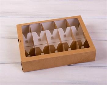 Коробка для 10 кейк-попсов горизонтальная, 25х20х5 см, с прозрачным окошком, крафт - фото 5374