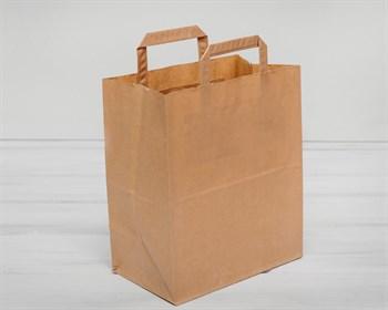 Крафт пакет бумажный, 28х24х14 см, с плоскими ручками, коричневый - фото 5381