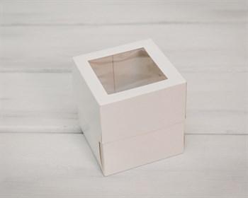 Коробка для капкейков/маффинов на 1 шт, с прозрачным окошком, 10х10х11 см, белая - фото 5418