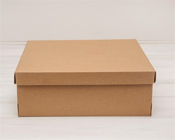 Коробка из плотного картона, 33х31х11,5 см, крышка-дно, крафт - фото 5453