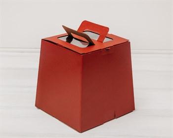 Коробка для пряничного домика/кулича, трапеция, низ 18,5 см, верх 15,5 см, высота 18,5 см, бордовая - фото 5461
