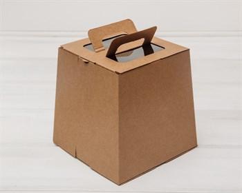 Коробка для пряничного домика/кулича, трапеция, низ 18,5 см, верх 15,5 см, высота 18,5 см, крафт - фото 5463