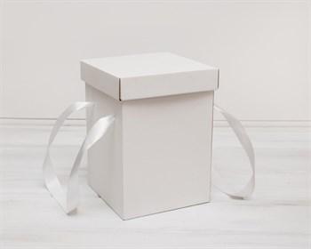 Коробка подарочная для цветов  17,5х17,5х25 см, с крышкой, белая - фото 5466