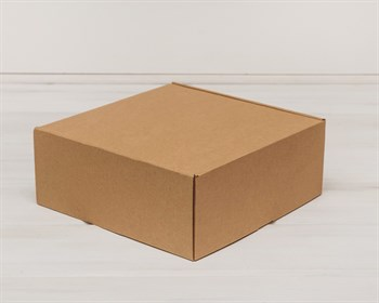 Коробка для посылок, 25х25х10 см, из плотного картона, крафт - фото 5475
