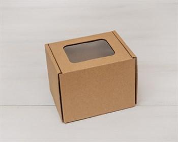 Коробка с окошком, 10х10х12 см, из плотного картона, крафт - фото 5489