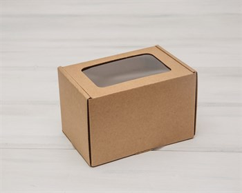 Коробка с окошком, 16х11х11 см, из плотного картона, крафт - фото 5495