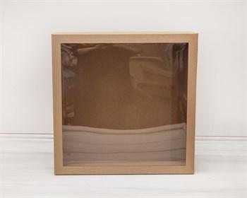 Коробка для венка с прозрачным окошком, 48х48х12 см, крафт - фото 5529