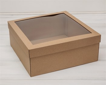 Коробка для венка с прозрачным окошком, 30х30х12 см, крафт - фото 5532
