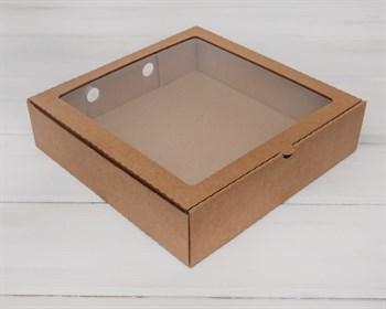 Коробка с окошком, 28х28х7 см, крафт - фото 5534